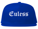 Euless Texas TX Old English Mens Snapback Hat Royal Blue