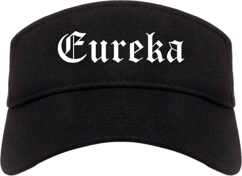 Eureka Illinois IL Old English Mens Visor Cap Hat Black