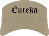Eureka Missouri MO Old English Mens Visor Cap Hat Khaki