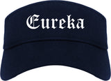 Eureka Missouri MO Old English Mens Visor Cap Hat Navy Blue