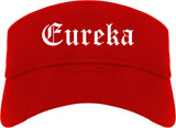 Eureka Missouri MO Old English Mens Visor Cap Hat Red