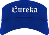 Eureka Missouri MO Old English Mens Visor Cap Hat Royal Blue