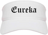 Eureka Missouri MO Old English Mens Visor Cap Hat White