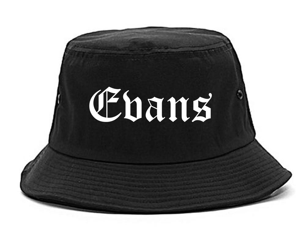 Evans Colorado CO Old English Mens Bucket Hat Black