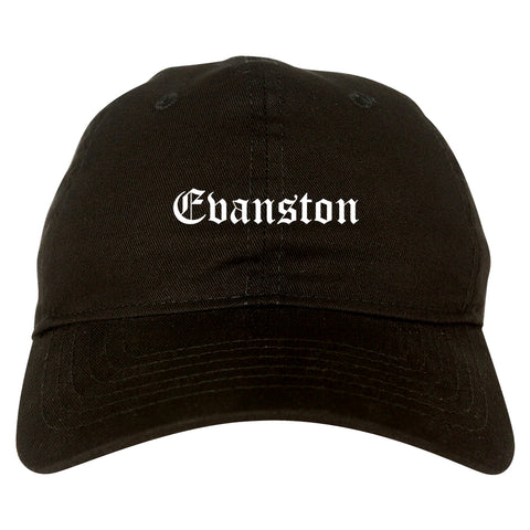 Evanston Illinois IL Old English Mens Dad Hat Baseball Cap Black