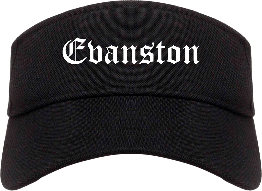 Evanston Illinois IL Old English Mens Visor Cap Hat Black