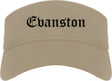 Evanston Illinois IL Old English Mens Visor Cap Hat Khaki