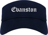 Evanston Illinois IL Old English Mens Visor Cap Hat Navy Blue
