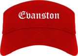 Evanston Illinois IL Old English Mens Visor Cap Hat Red
