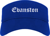 Evanston Illinois IL Old English Mens Visor Cap Hat Royal Blue