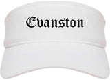 Evanston Illinois IL Old English Mens Visor Cap Hat White
