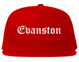 Evanston Wyoming WY Old English Mens Snapback Hat Red