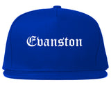 Evanston Wyoming WY Old English Mens Snapback Hat Royal Blue