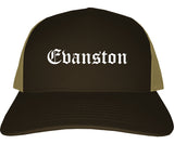 Evanston Wyoming WY Old English Mens Trucker Hat Cap Brown