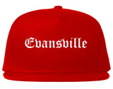 Evansville Indiana IN Old English Mens Snapback Hat Red