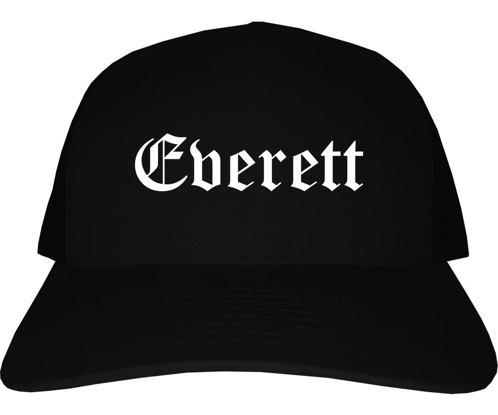 Everett Massachusetts MA Old English Mens Trucker Hat Cap Black