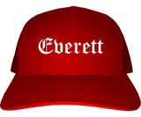 Everett Massachusetts MA Old English Mens Trucker Hat Cap Red