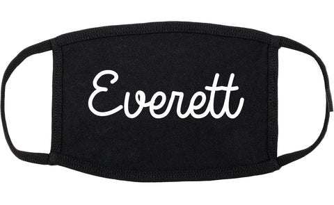 Everett Massachusetts MA Script Cotton Face Mask Black