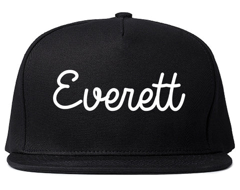 Everett Massachusetts MA Script Mens Snapback Hat Black