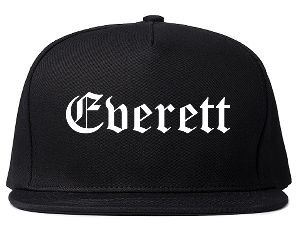 Everett Washington WA Old English Mens Snapback Hat Black