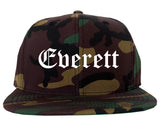 Everett Washington WA Old English Mens Snapback Hat Army Camo