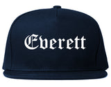 Everett Washington WA Old English Mens Snapback Hat Navy Blue