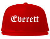 Everett Washington WA Old English Mens Snapback Hat Red