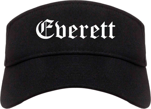 Everett Washington WA Old English Mens Visor Cap Hat Black