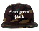 Evergreen Park Illinois IL Old English Mens Snapback Hat Army Camo