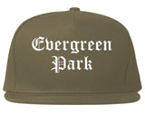 Evergreen Park Illinois IL Old English Mens Snapback Hat Grey