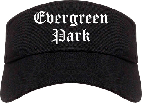Evergreen Park Illinois IL Old English Mens Visor Cap Hat Black