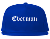 Everman Texas TX Old English Mens Snapback Hat Royal Blue