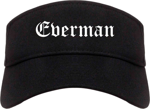 Everman Texas TX Old English Mens Visor Cap Hat Black