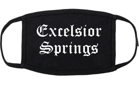 Excelsior Springs Missouri MO Old English Cotton Face Mask Black
