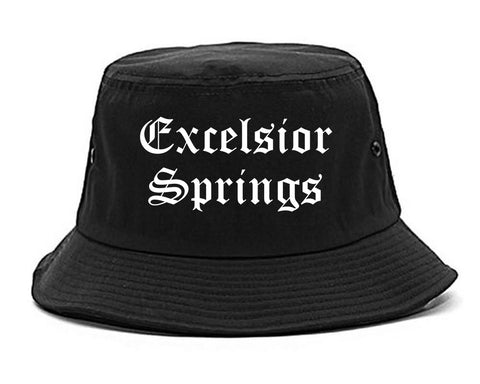 Excelsior Springs Missouri MO Old English Mens Bucket Hat Black