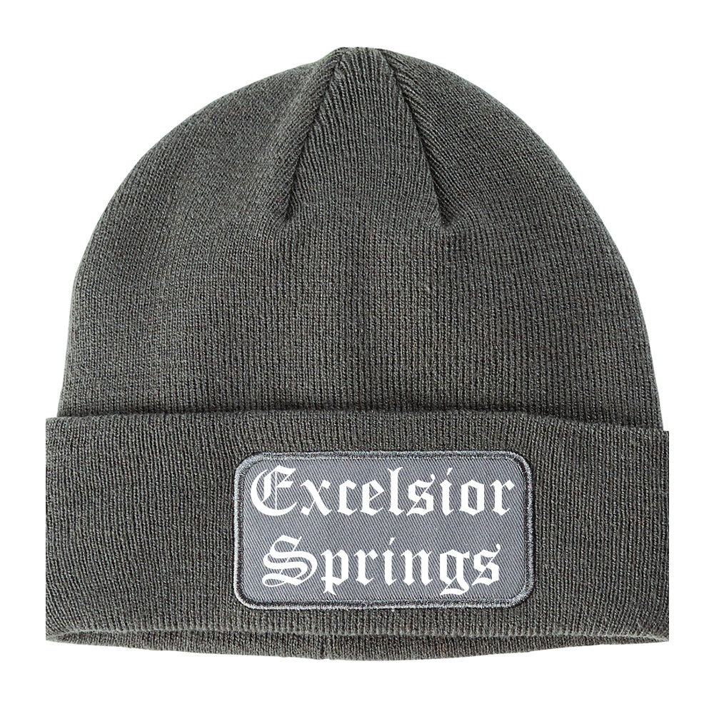 Excelsior Springs Missouri MO Old English Mens Knit Beanie Hat Cap Grey