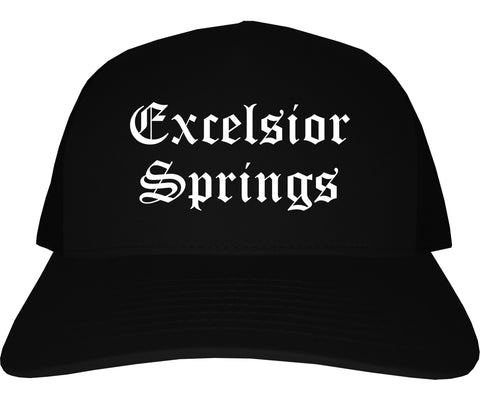 Excelsior Springs Missouri MO Old English Mens Trucker Hat Cap Black