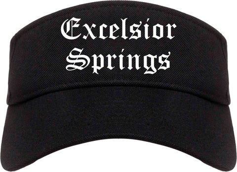 Excelsior Springs Missouri MO Old English Mens Visor Cap Hat Black