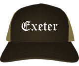 Exeter California CA Old English Mens Trucker Hat Cap Brown