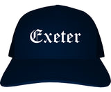 Exeter California CA Old English Mens Trucker Hat Cap Navy Blue