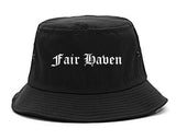 Fair Haven New Jersey NJ Old English Mens Bucket Hat Black