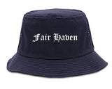 Fair Haven New Jersey NJ Old English Mens Bucket Hat Navy Blue