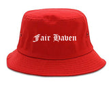 Fair Haven New Jersey NJ Old English Mens Bucket Hat Red