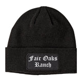 Fair Oaks Ranch Texas TX Old English Mens Knit Beanie Hat Cap Black