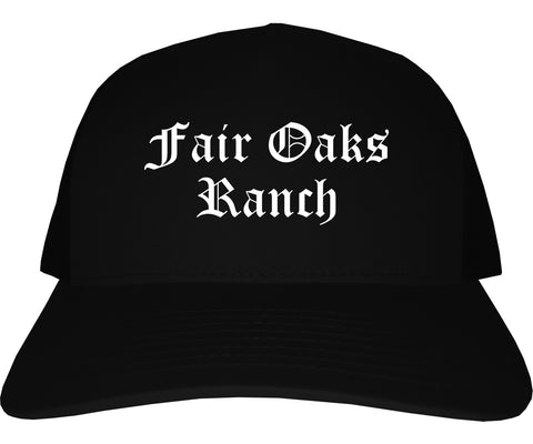 Fair Oaks Ranch Texas TX Old English Mens Trucker Hat Cap Black