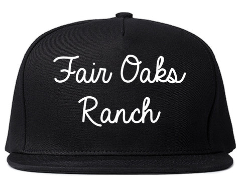 Fair Oaks Ranch Texas TX Script Mens Snapback Hat Black