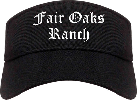 Fair Oaks Ranch Texas TX Old English Mens Visor Cap Hat Black
