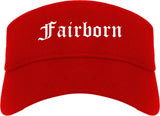 Fairborn Ohio OH Old English Mens Visor Cap Hat Red