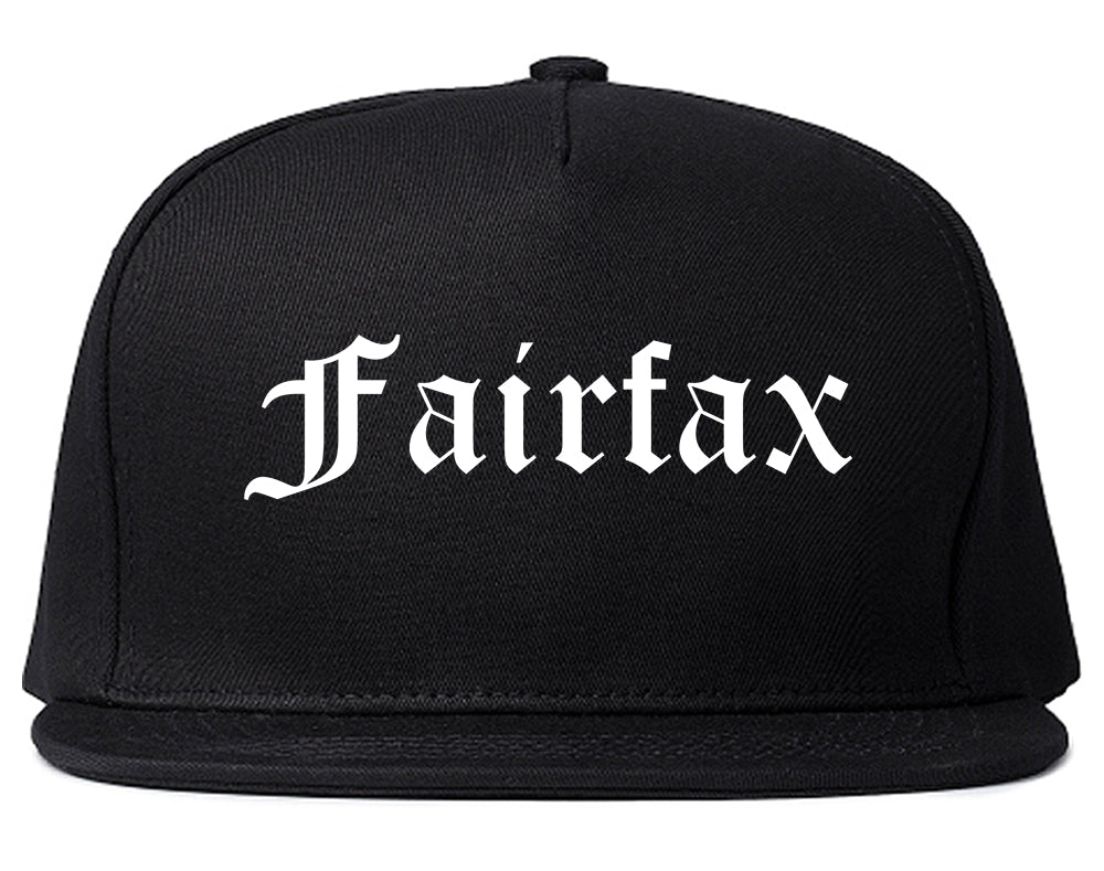 Fairfax California CA Old English Mens Snapback Hat Black