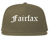 Fairfax Virginia VA Old English Mens Snapback Hat Grey